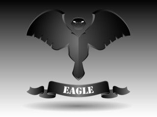 Eagle silhouette in abstract design in black and white