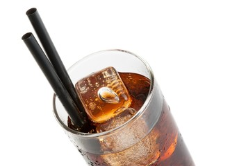 fresh coke with black straw, summer time