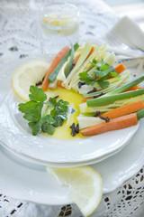 Presentation of mixed vegetables