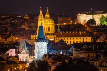 Prague the night cityscape