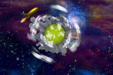 Retro Rocket and city planet