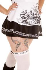 woman black white skirt body tattoo