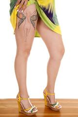 woman fairy tattoo upper leg heels