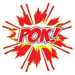 POW! wording comic speech bubble in pop art style