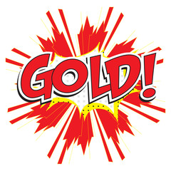 GOLD! wording in pop art style on burst background