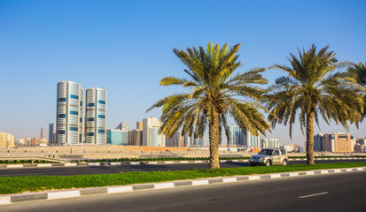 General view of modern buildings in Sharjah