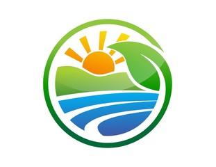 global nature logo plant symbol,sun power,energy solar icon