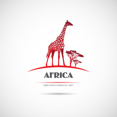 Label with a picture of a giraffe. Vector.
