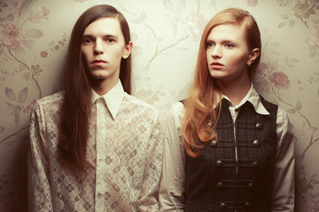 Gothic hipsters concept. Beautiful long haired couple