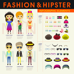 stylish and hipster's people infographic elements