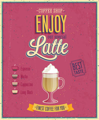 Wall Mural - Vintage Latte Poster.