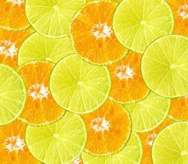 Healthy fresh food background. Lemon and orange