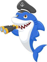Cute shark holding binocular