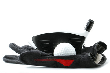 Glof driver head with ball ang glove