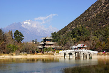Black Dragon Pool Jade Dragon Snow Mountain in Lijiang, Yunnan,