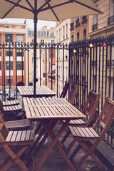 Restaurant tables and chairs in Paris, France