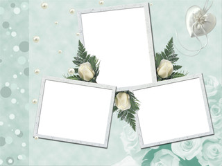 Wedding frame for 3 photos with white roses