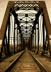 Railroad Trestle Bridge and RR Tracks from Old Vintage Retro Day