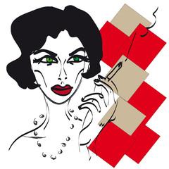 Lady smokes
