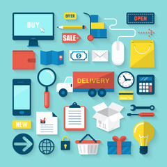 Flat icons of online commerce and shopping