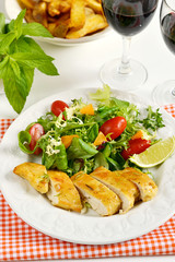 Chicken breasts coated with cornflour