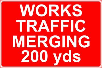 Works traffic merging sign