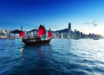 Wall Mural - Hong Kong harbour  in sunset time