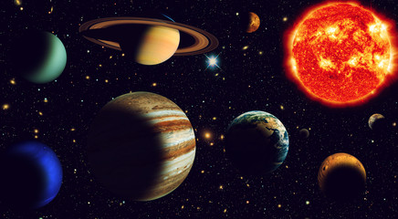 Wall Mural - The sun and nine planets of our system orbiting