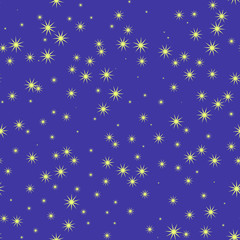 stars and sky at night, seamless pattern