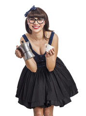young beautiful pin up woman serving a coffee with coffee pot