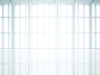 Empty interior with large windows