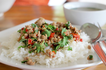 thai food. Fried basil leave with pork on rice