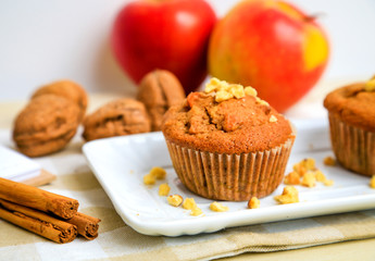 Wall Mural - Homemade muffins with apple, chest nut and cinnamon