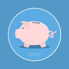 "Money : Vector ""piggy bank"" icon flat design"