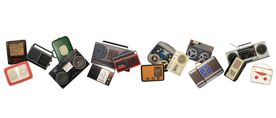 Dance retro recorders, audio system, collage of music