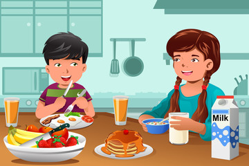 Kids eating healthy breakfast