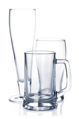 Empty beer glass set