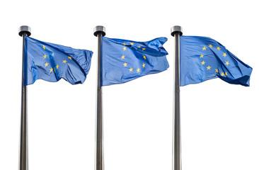 European Union flags isolated on white