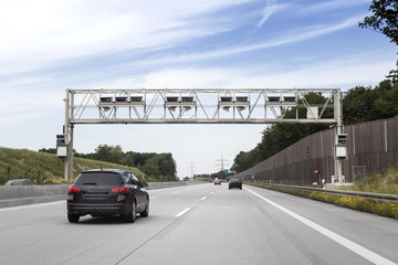 Truck toll system, german highway - control gantry