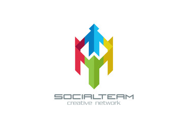 Social Team vector logo design. Internet Community group