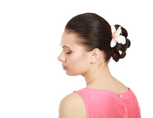 Closeup portrait of a young girl , isolated on white background