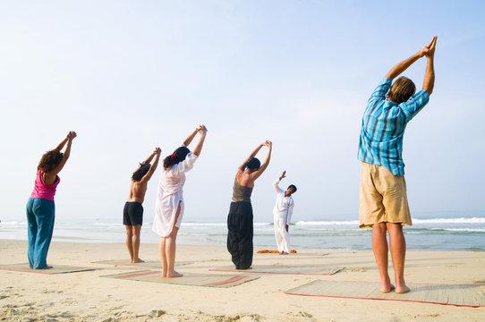 Yoga Class By The Beach