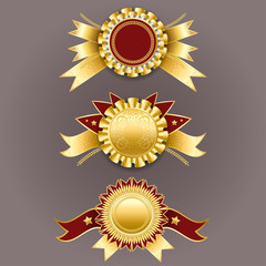 Best quality emblem. Set of gold and red badges with ribbons. Ve