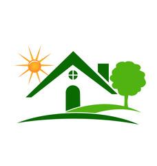 Real estate green house tree and sun logo vector