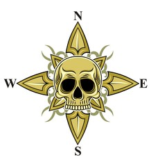 skull with compass