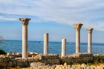 Ancient Greek basilica and marble columns