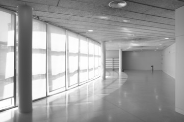 Modern building round corridor in black and white