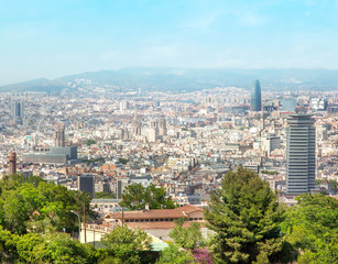 view of Barcelona from the top in summer