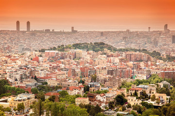 view of Barcelona from above at sunset in summer