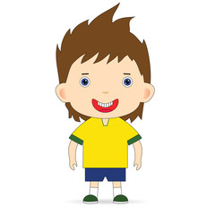Brazil football team on a white background. Raster